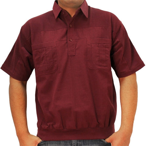 LD Sport 4 Pocket Woven Short Sleeve Banded Bottom Shirt 6030-200 Burgundy - bandedbottom