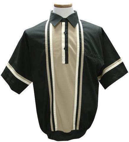 LD Sport Woven Banded Bottom Polo Shirt - 6030-402 Big and Tall - Black