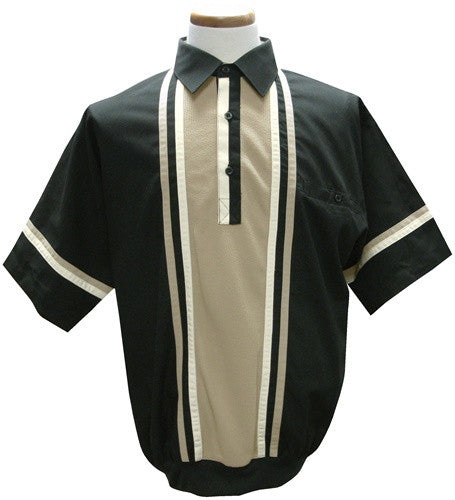 LD Sport Woven Short Sleeve Banded Bottom Polo Shirt 6030-402 Black - bandedbottom
