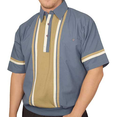 LD Sport Woven Banded Bottom Polo Shirt - 6030-402 - MarineBT
