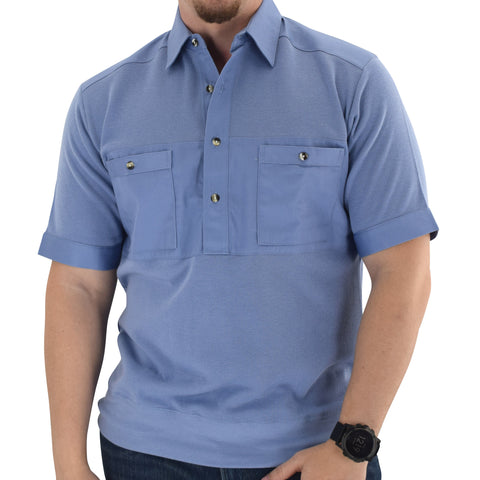 Mens Solid Knit Banded Bottom Shirt with Woven Chest Panel 6041-22N- Blue - Banded Bottom