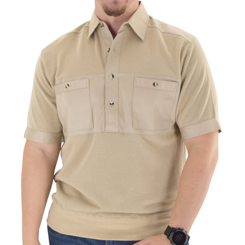 Solid Knit Banded Bottom Shirt with Woven Chest Panel 6041-22N - Heather Tan - Banded Bottom
