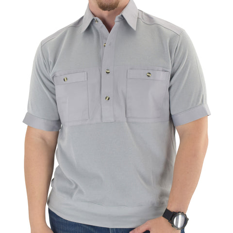 Mens Solid Knit Banded Bottom Shirt with Woven Chest Panel 6041-22N - Light Grey - Banded Bottom