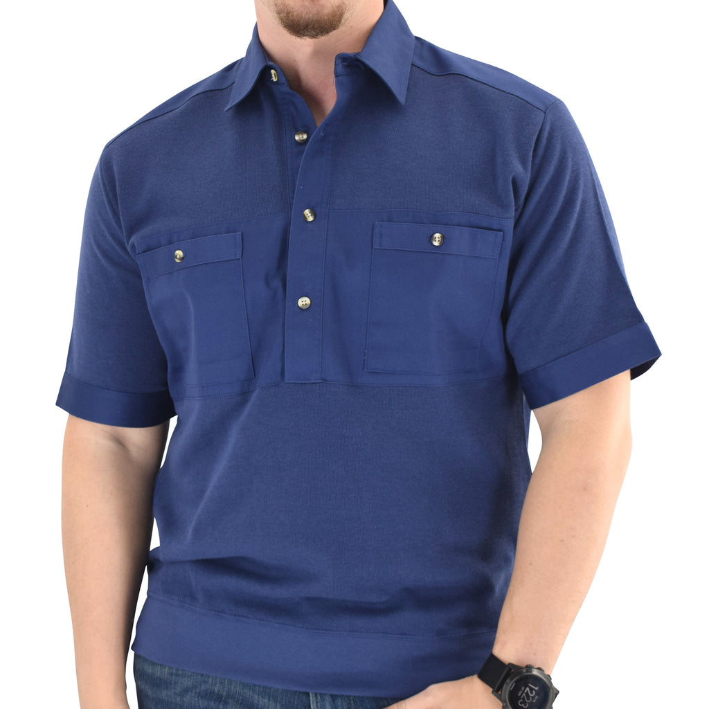 Solid Knit Banded Bottom Shirt with Woven Chest Panel 6041-22N - Navy - theflagshirt
