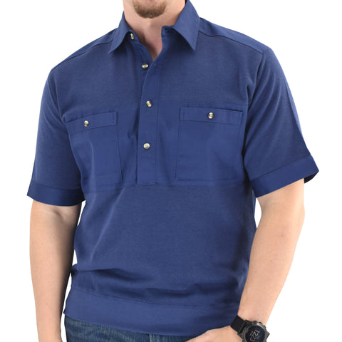 Solid Knit Banded Bottom Shirt with Woven Chest Panel 6041-22N - Navy - Banded Bottom