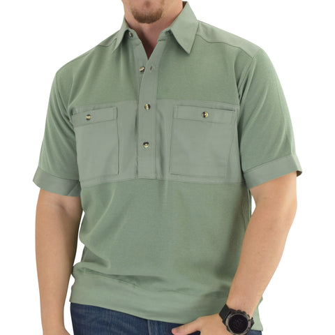 Mens Solid Knit Banded Bottom Shirt with Woven Chest Panel 6041-22N - Sage - Banded Bottom