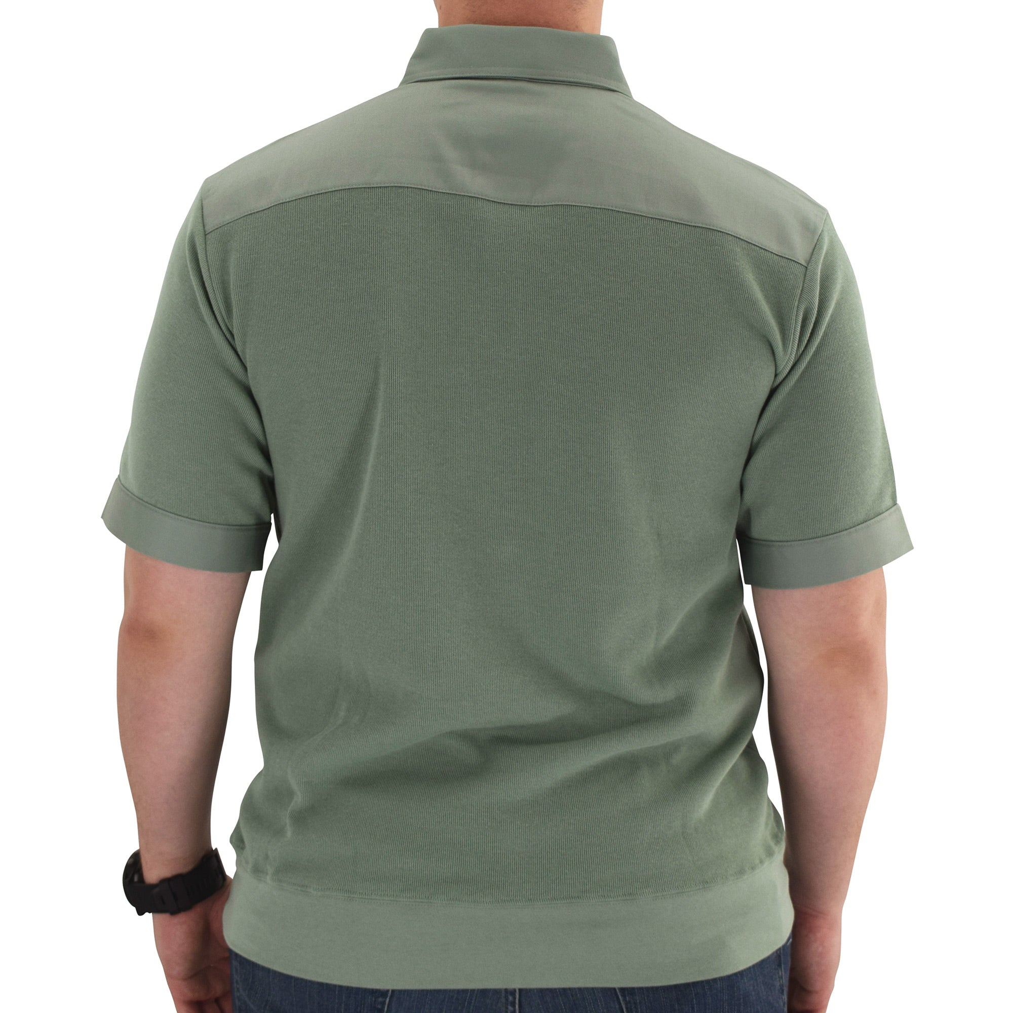 Mens Solid Knit Banded Bottom Shirt with Woven Chest Panel 6041-22N Big and Tall - Sage - theflagshirt