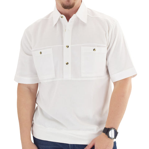 Solid Knit Banded Bottom Shirt with Woven Chest Panel 6041-22N - White - Banded Bottom