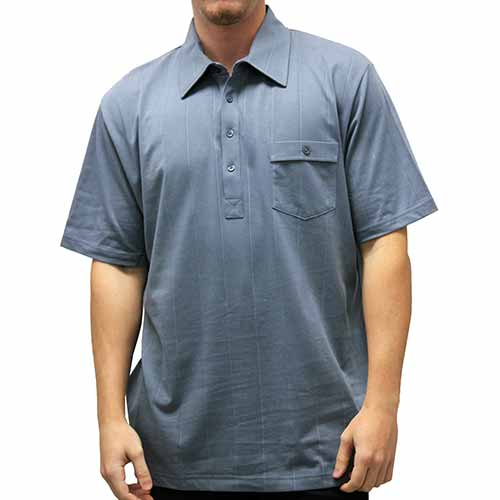 Palmland Solid Textured Short Sleeve Knit Big and Tall-Marine - theflagshirt
