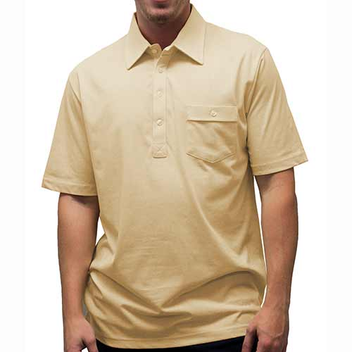 Palmland Solid Textured Short Sleeve Knit Big and Tall Tan - theflagshirt