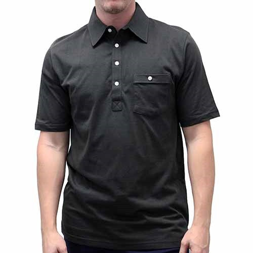Palmland Solid Textured Short Sleeve Knit Big and Tall Black - theflagshirt