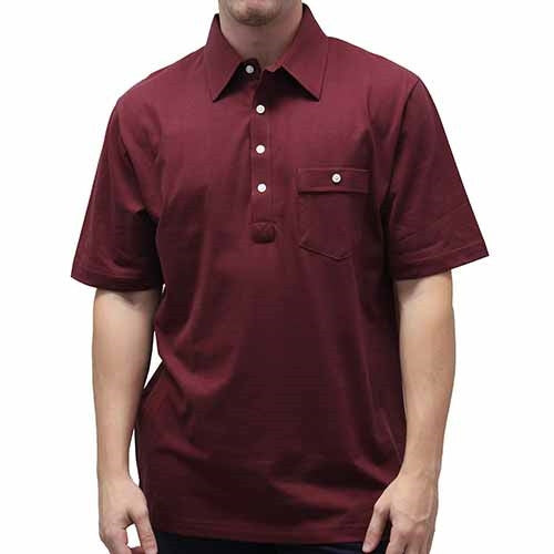 Palmland Solid Textured Short Sleeve Knit Big and Tall Burgundy - theflagshirt