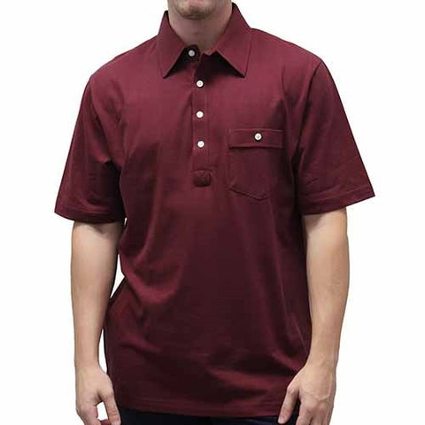 Palmland Solid Textured Short Sleeve Knit -Burgundy - bandedbottom