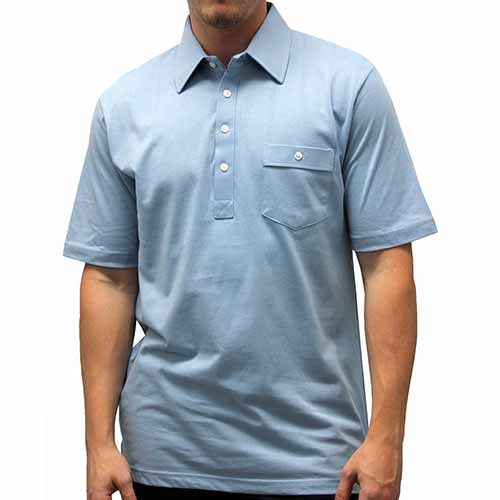 Palmland Solid Textured Short Sleeve Knit Big and Tall Med Blue - theflagshirt