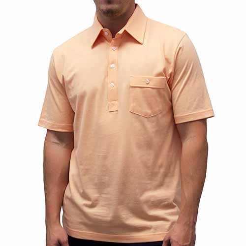 Palmland Solid Textured Short Sleeve Knit Big and Tall Melon - theflagshirt