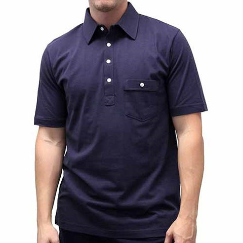 Palmland Solid Textured Short Sleeve Knit -Navy - bandedbottom