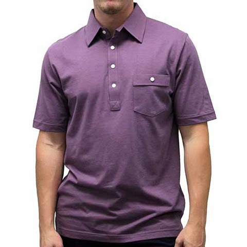 Palmland Solid Textured Short Sleeve Knit Big and Tall Plum - theflagshirt