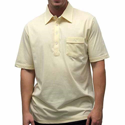Palmland Solid Textured Short Sleeve Knit Big and Tall Yellow - theflagshirt
