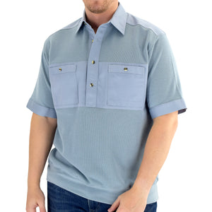Solid Knit Banded Bottom Shirt with Woven Chest Panel 6041-22N - Chambray - theflagshirt