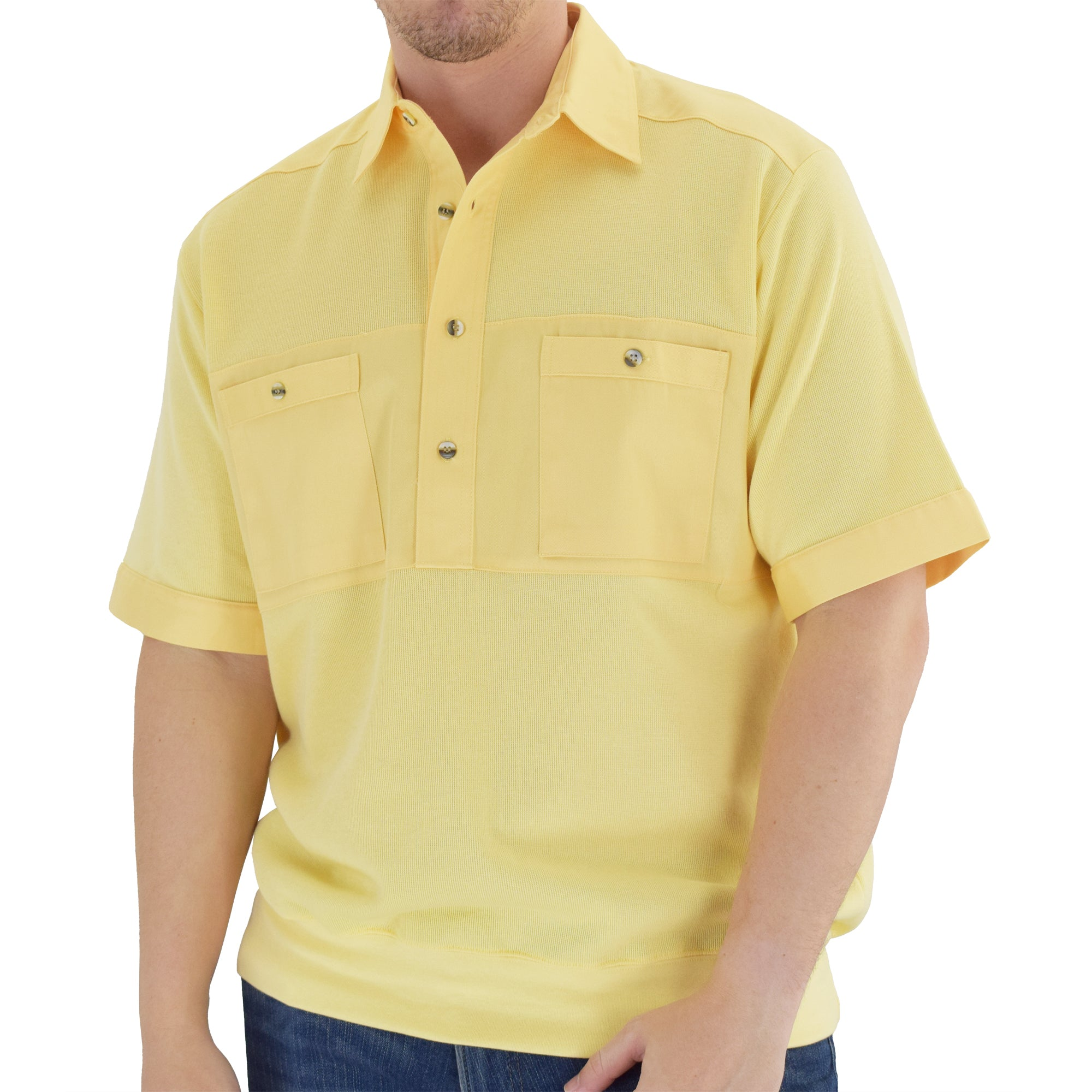 Solid Knit Banded Bottom Shirt with Woven Chest Panel 6041-22N - Maize - theflagshirt