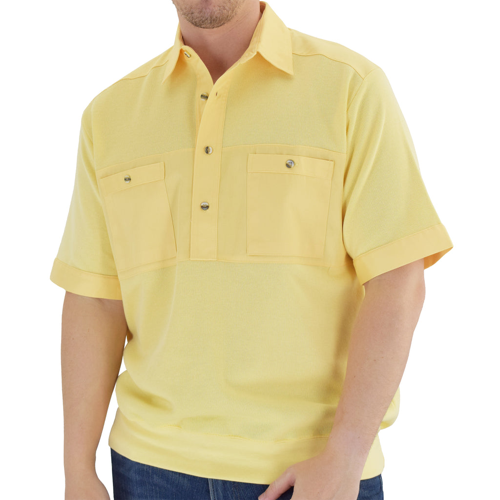 Solid Knit Banded Bottom Shirt with Woven Chest Panel 6041-22N Big and Tall - Maize - theflagshirt