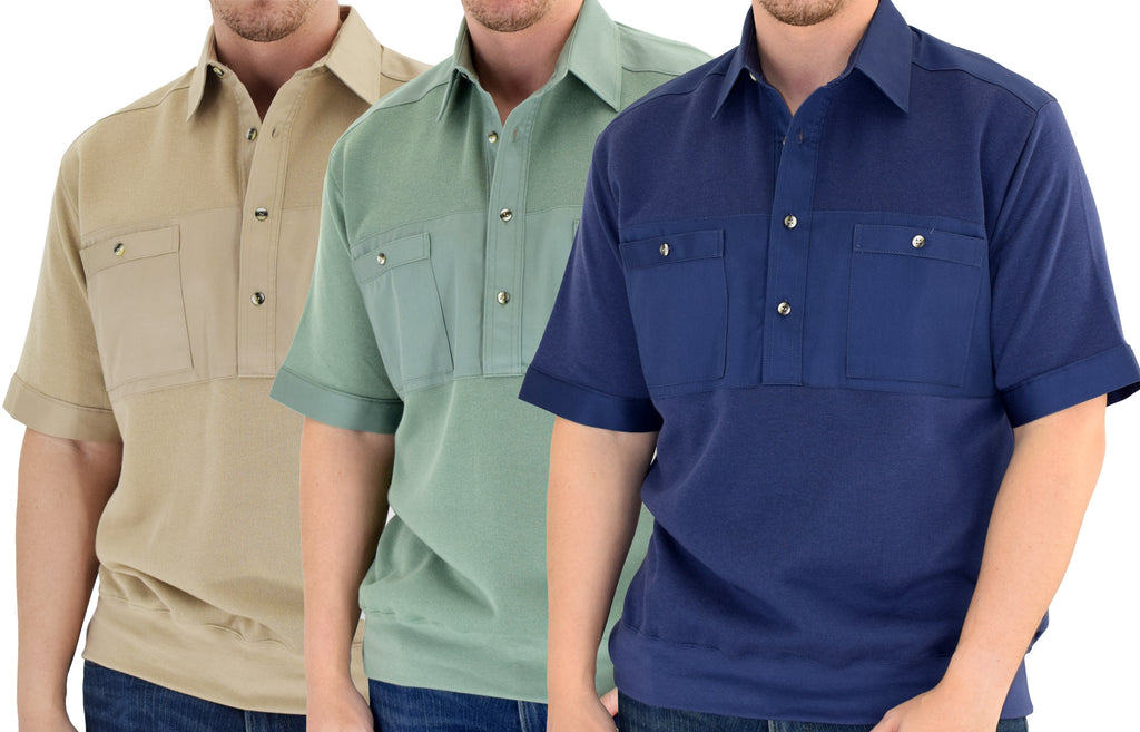 Men's Solid Knit Banded Bottom Shirt with Woven Chest Panel - bandedbottom