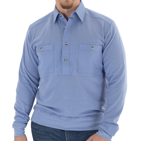 Mens LS Solid Knit Banded Bottom Shirt with Woven Chest Panel 6042-22N - Blue