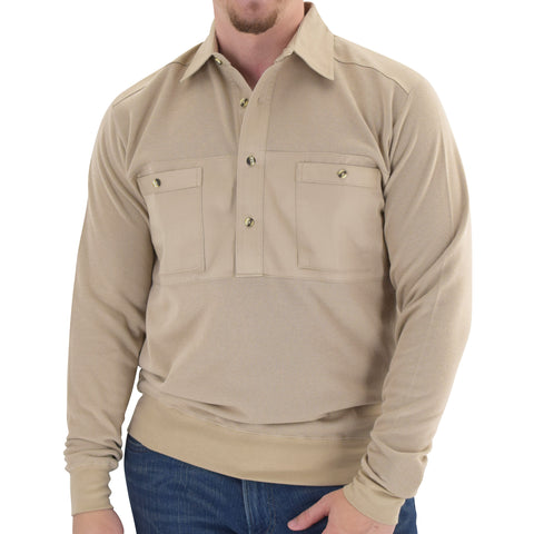 Mens LS Solid Knit Banded Bottom Shirt with Woven Chest Panel 6042-22N - Heather Tan - bandedbottom