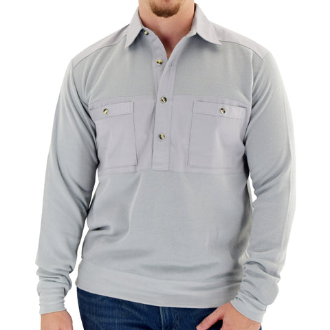 Mens LS Solid Knit Banded Bottom Shirt with Woven Chest Panel 6042-22N - Light Grey - Banded Bottom
