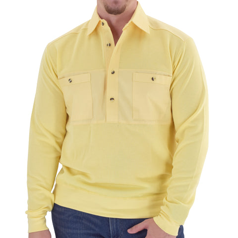 Mens LS Solid Knit Banded Bottom Shirt with Woven Chest Panel 6042-22N - Maize - bandedbottom