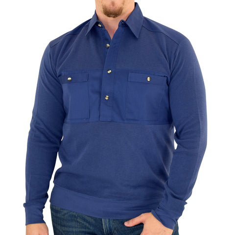 Mens LS Solid Knit Banded Bottom Shirt with Woven Chest Panel 6042-22N - Navy - Banded Bottom
