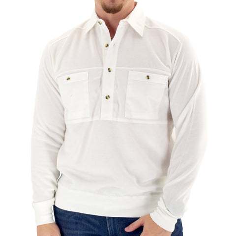 Mens LS Solid Knit Banded Bottom Shirt with Woven Chest Panel 6042-22N - White - bandedbottom