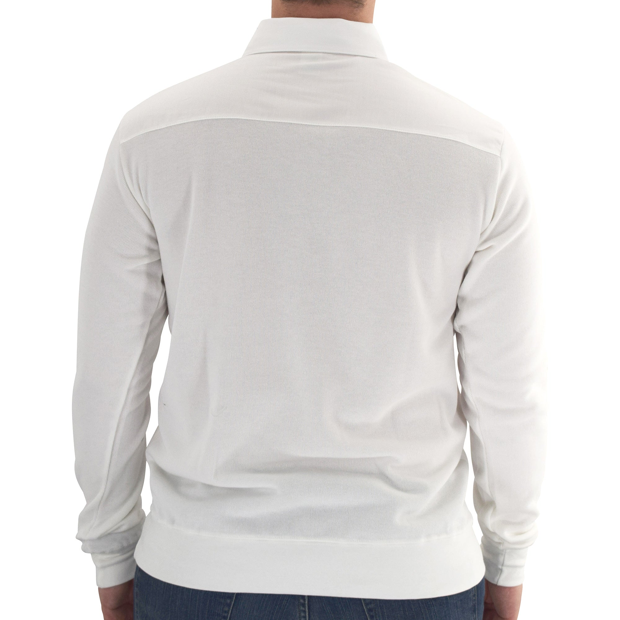 Mens LS Solid Knit Banded Bottom Shirt with Woven Chest Panel 6042-22N - White - theflagshirt