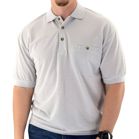 Classics By Palmland Short Sleeve Banded Bottom Shirt 6070-244 Big and Tall-Light Grey - theflagshirt