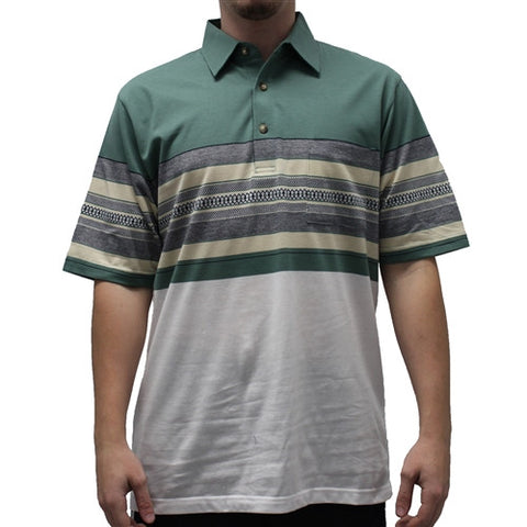 Palmland Club S/S Tailored Collar Pocketed Knit - 6050-430 Sage - theflagshirt