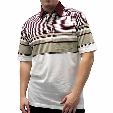 Palmland Club S/S Tailored Collar Pocketed Knit - 6050-434 Burgundy