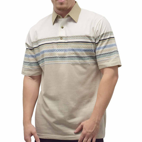 Classics by Palmland S/S Tailored Collar Pocketed Knit  - 6050-452 Taupe - theflagshirt