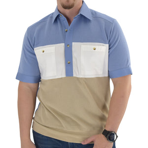 Mens SS Color Blocked Banded Bottom Shirt with Woven Chest Panel  6051-SSNT- Blue - theflagshirt