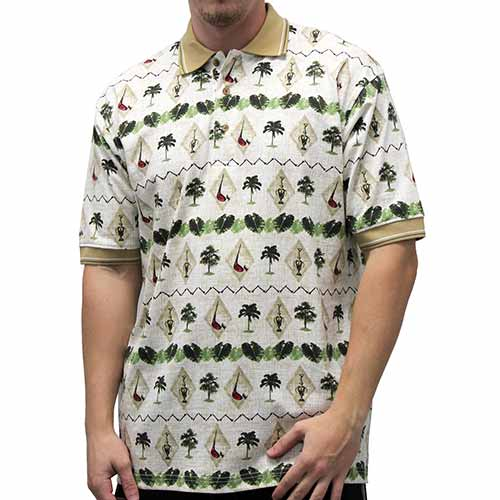 Palmland Club Men's Hawaiian Shirt - 6065-104 Natural - theflagshirt