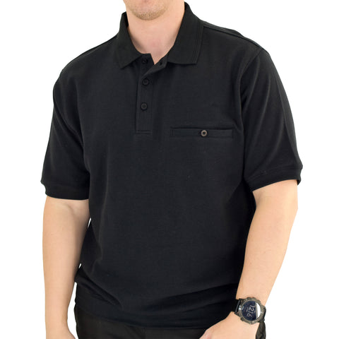 Classics by Palmland Short Sleeve 3 Button Banded Bottom Knit Collar 6070-100-Black - theflagshirt