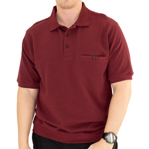 Classics by Palmland Short Sleeve 3 Button Banded Bottom Knit Collar 6070-100-Burgundy - theflagshirt