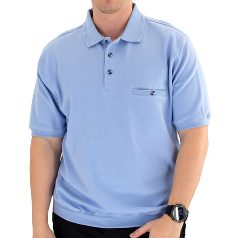 Classics by Palmland Short Sleeve 3 Button Banded Bottom Knit Collar 6070-100-Light Blue - theflagshirt