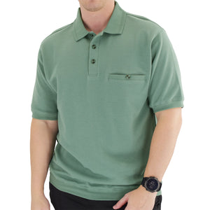 Classics by Palmland Short Sleeve 3 Button Banded Bottom Knit Collar 6070-100-Sage - theflagshirt