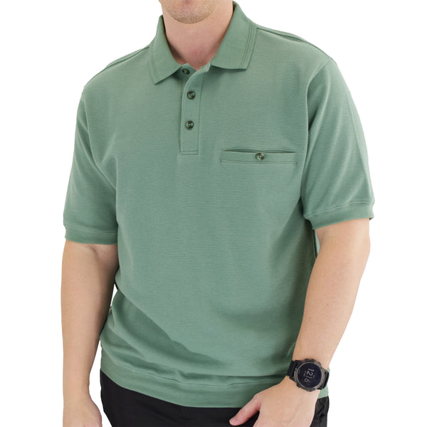 Classics by Palmland Short Sleeve 3 Button Banded Bottom Knit Collar 6070-100BT-Sage - theflagshirt