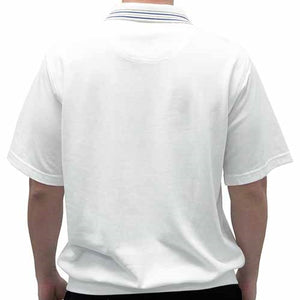 Safe Harbor French Terry Short Sleeve Banded Bottom Shirt 6070-200 White - theflagshirt