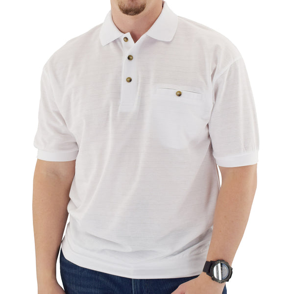 Classics by Palmland Short Sleeve Banded Bottom Shirt 6070-208BT White - theflagshirt