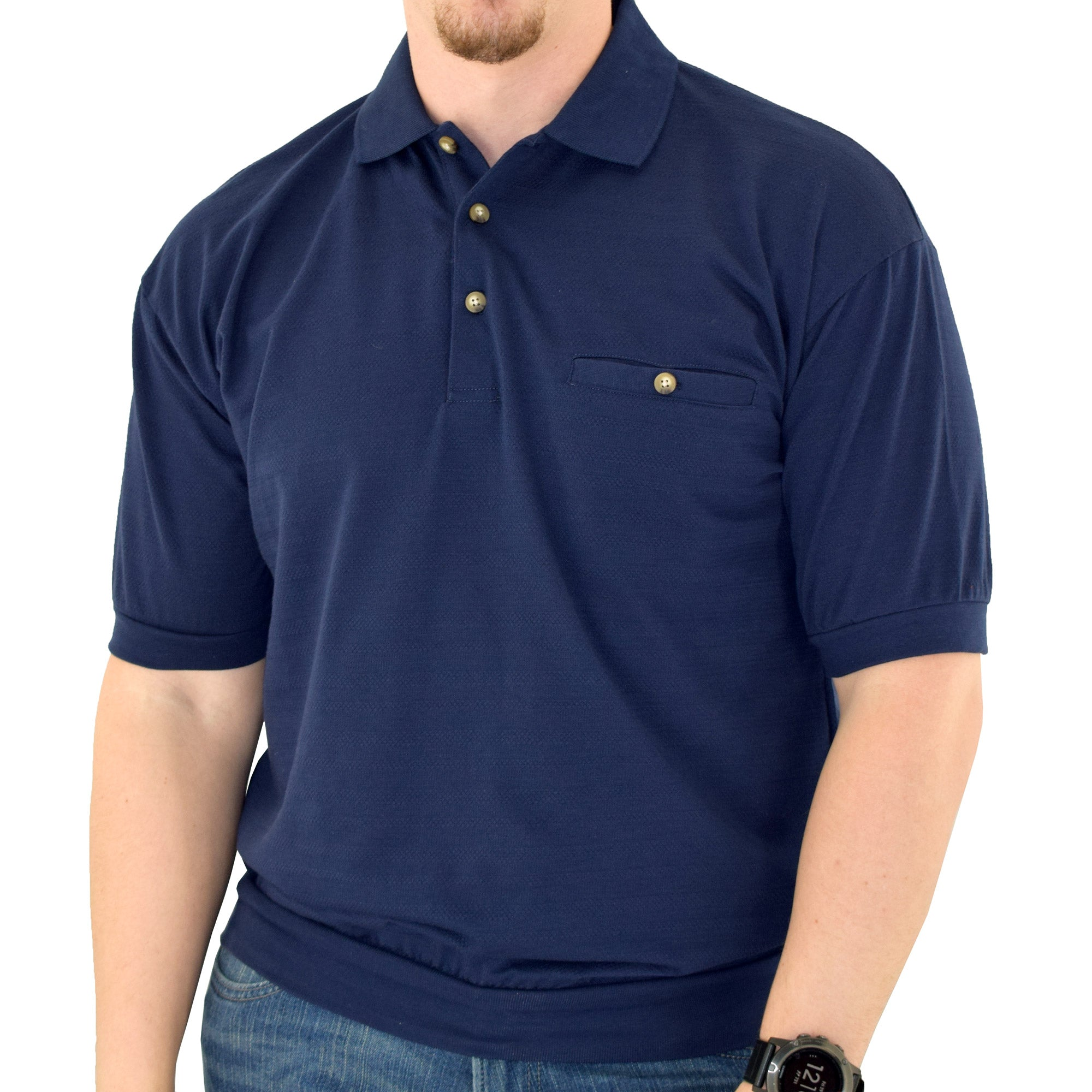 Classics by Palmland Short Sleeve Banded Bottom Shirt 6070-209BT Navy - theflagshirt