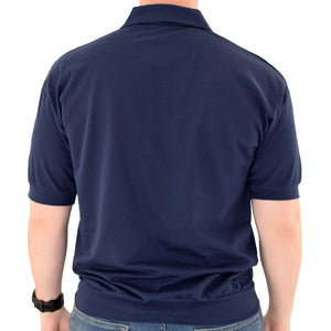 Classics by Palmland Short Sleeve Banded Bottom Shirt 6070-209 Navy - theflagshirt