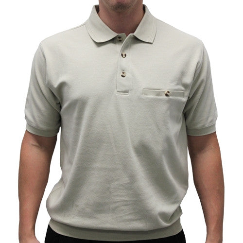 Safe Harbor Solid Textured Short Sleeve Banded Bottom Shirt 6070-219 Stone - theflagshirt