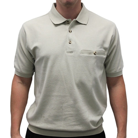 Safe Harbor Solid Textured Short Sleeve Banded Bottom Shirt 6070-219 Stone - bandedbottom
